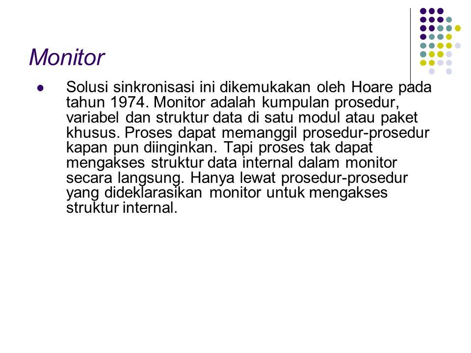 Monitor Solusi sinkronisasi ini dikemukakan oleh Hoare pada tahun 1974. Monitor adalah kumpulan prosedur, variabel dan struktur data di satu modul ata