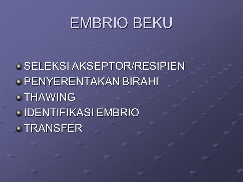 EMBRIO BEKU SELEKSI AKSEPTOR/RESIPIEN PENYERENTAKAN BIRAHI THAWING IDENTIFIKASI EMBRIO TRANSFER