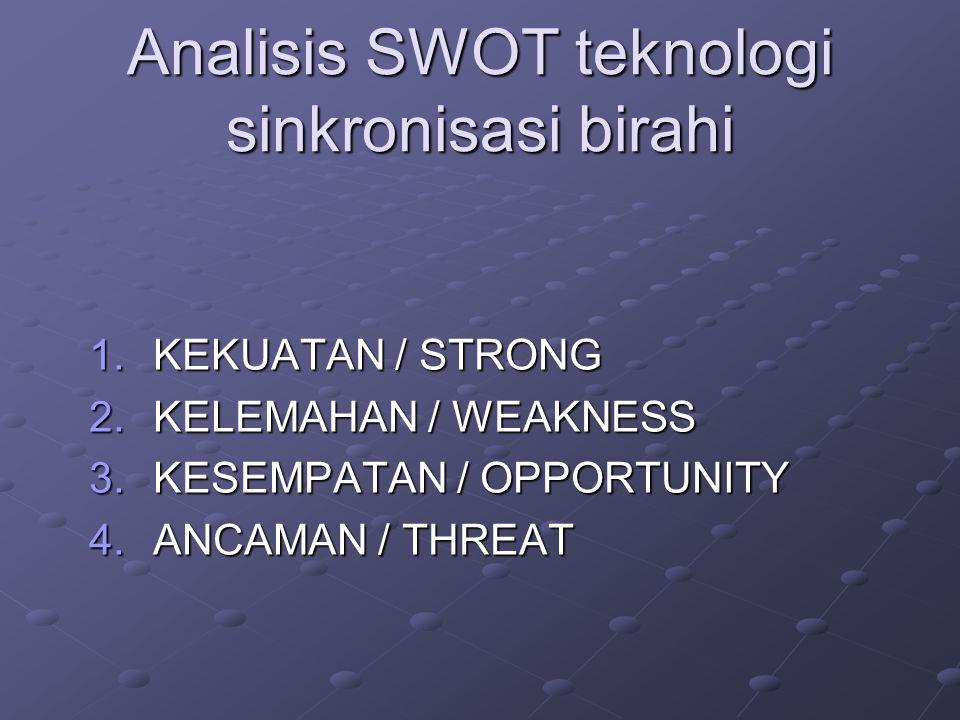 Analisis SWOT teknologi sinkronisasi birahi 1.KEKUATAN / STRONG 2.KELEMAHAN / WEAKNESS 3.KESEMPATAN / OPPORTUNITY 4.ANCAMAN / THREAT