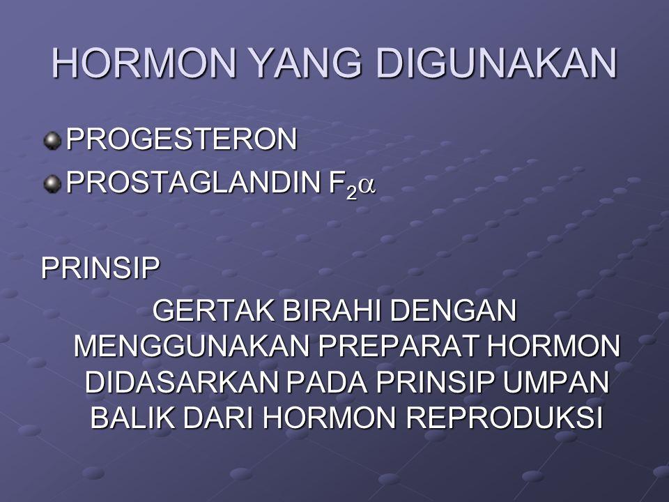 HORMON YANG DIGUNAKAN PROGESTERON PROSTAGLANDIN F 2  PRINSIP GERTAK BIRAHI DENGAN MENGGUNAKAN PREPARAT HORMON DIDASARKAN PADA PRINSIP UMPAN BALIK DARI HORMON REPRODUKSI