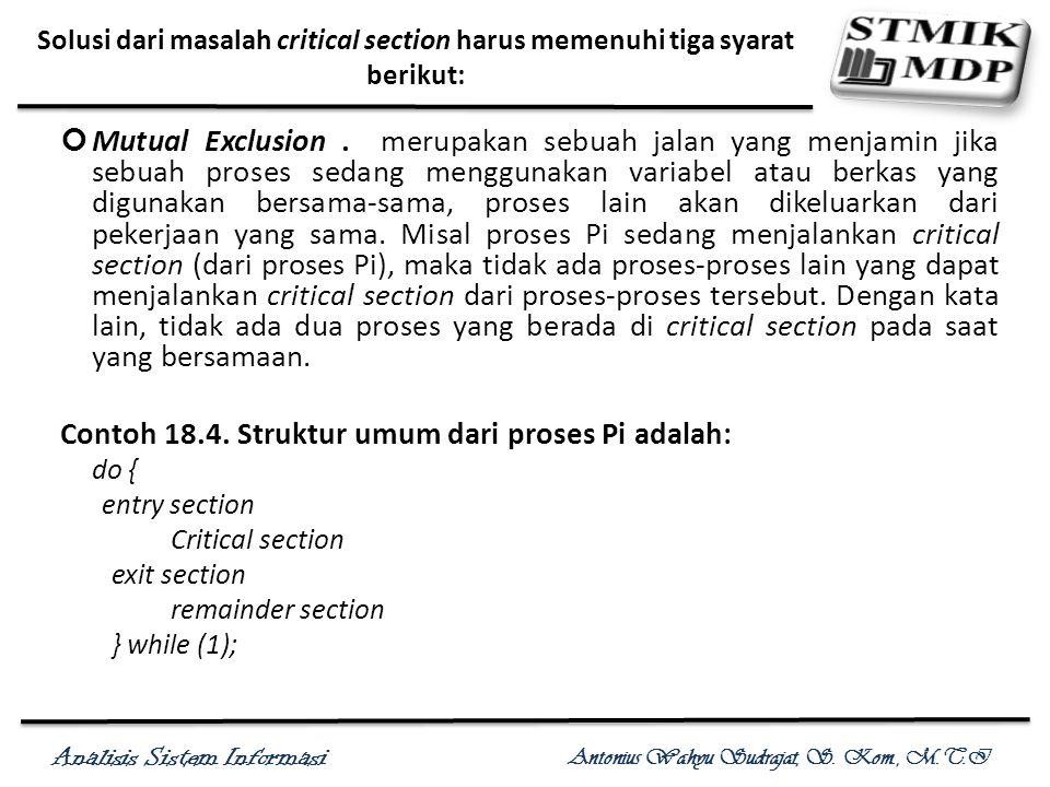 Analisis Sistem Informasi Antonius Wahyu Sudrajat, S. Kom., M.T.I Solusi dari masalah critical section harus memenuhi tiga syarat berikut: Mutual Excl