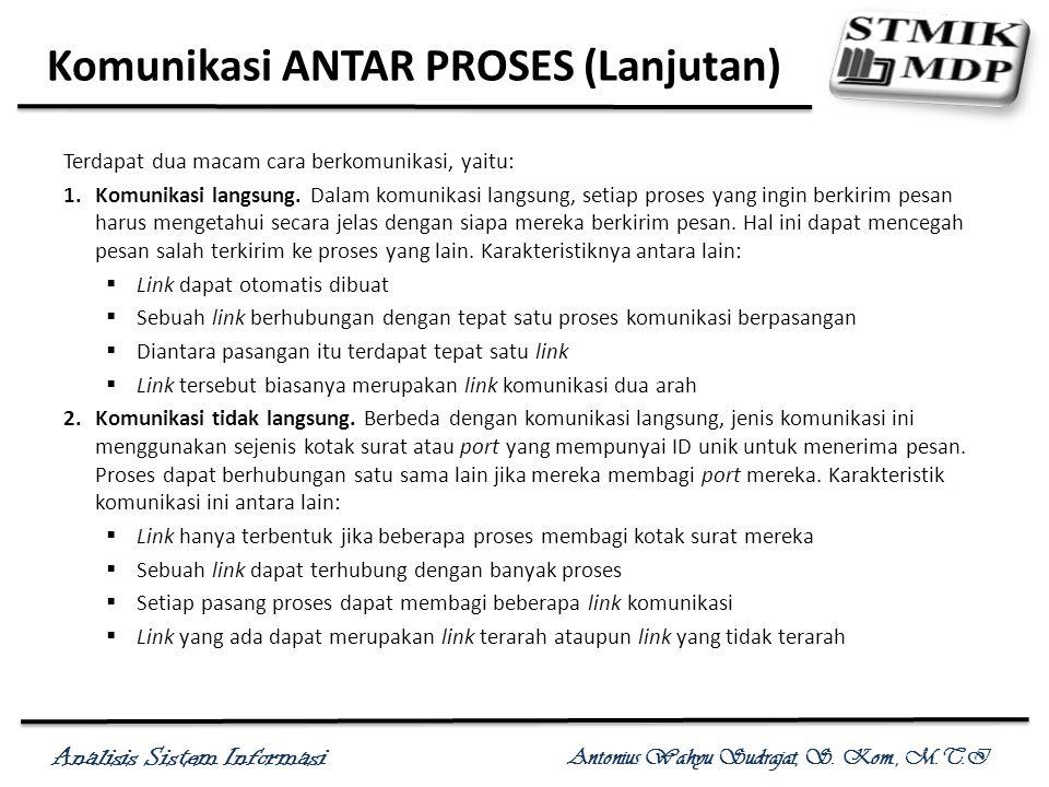 Analisis Sistem Informasi Antonius Wahyu Sudrajat, S. Kom., M.T.I Komunikasi ANTAR PROSES (Lanjutan) Terdapat dua macam cara berkomunikasi, yaitu: 1.K