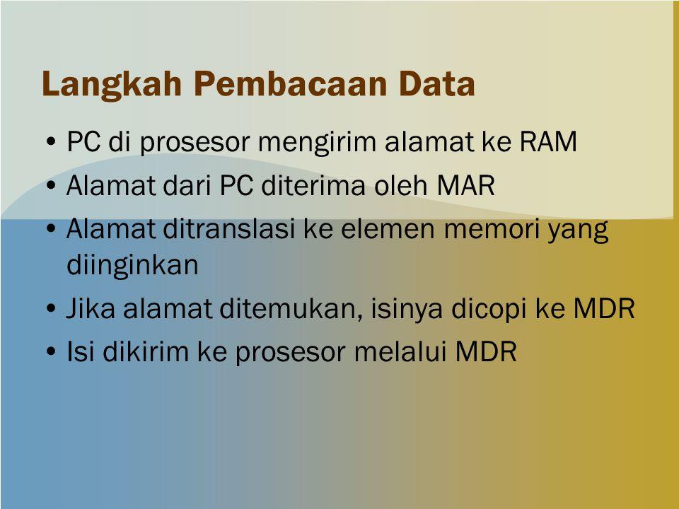Langkah Pembacaan Data PC di prosesor mengirim alamat ke RAM Alamat dari PC diterima oleh MAR Alamat ditranslasi ke elemen memori yang diinginkan Jika alamat ditemukan, isinya dicopi ke MDR Isi dikirim ke prosesor melalui MDR