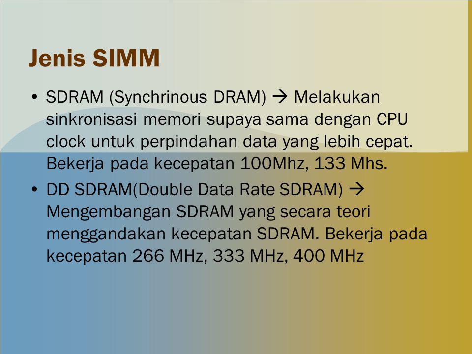 Jenis SIMM SDRAM (Synchrinous DRAM)  Melakukan sinkronisasi memori supaya sama dengan CPU clock untuk perpindahan data yang lebih cepat.