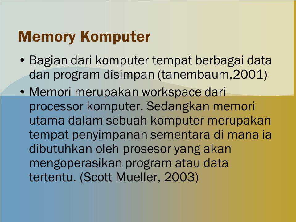 Memory Komputer Bagian dari komputer tempat berbagai data dan program disimpan (tanembaum,2001) Memori merupakan workspace dari processor komputer.