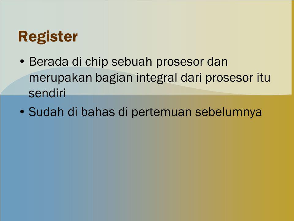 Register Berada di chip sebuah prosesor dan merupakan bagian integral dari prosesor itu sendiri Sudah di bahas di pertemuan sebelumnya