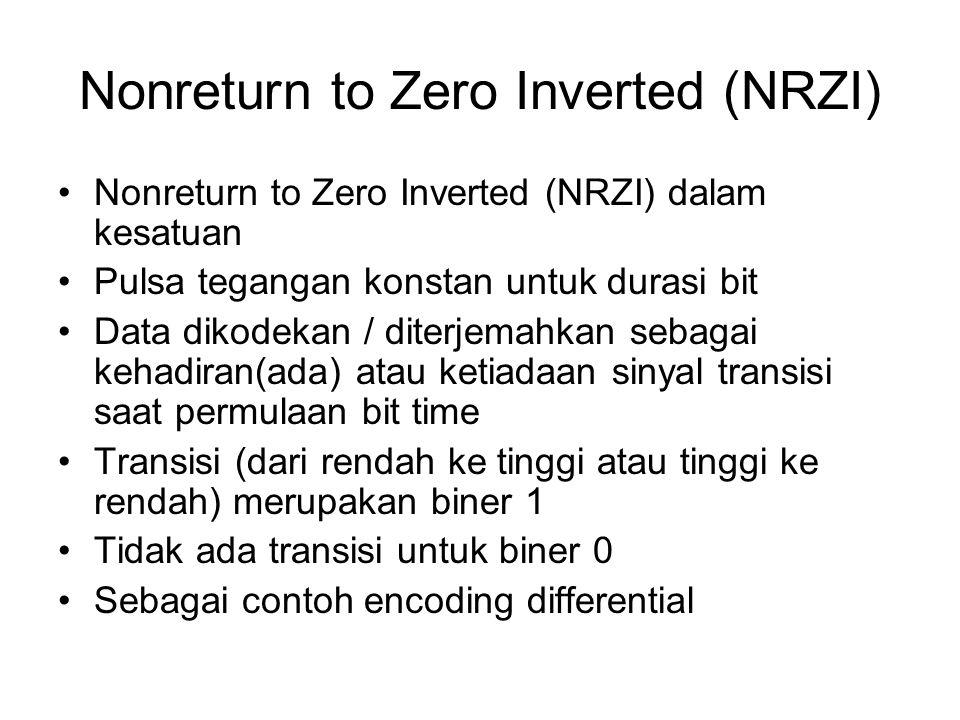 Nonreturn to Zero Inverted (NRZI) Nonreturn to Zero Inverted (NRZI) dalam kesatuan Pulsa tegangan konstan untuk durasi bit Data dikodekan / diterjemah