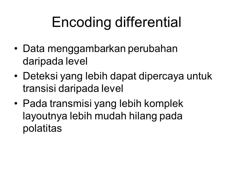 Encoding differential Data menggambarkan perubahan daripada level Deteksi yang lebih dapat dipercaya untuk transisi daripada level Pada transmisi yang