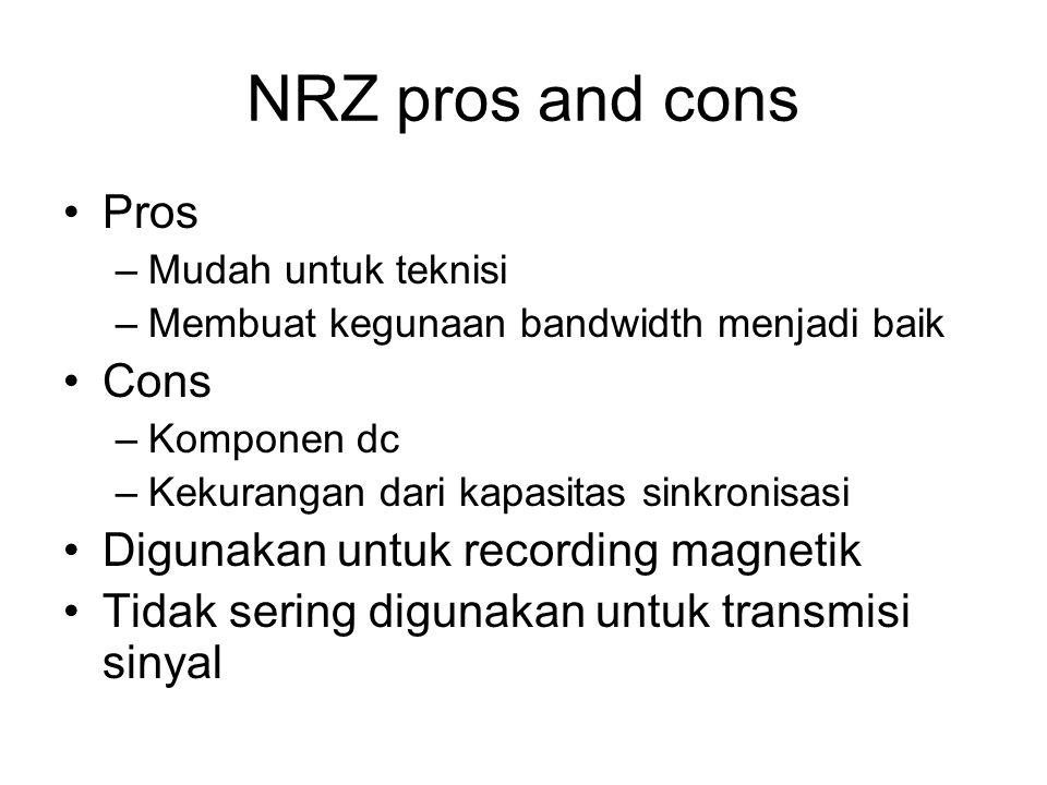 NRZ pros and cons Pros –Mudah untuk teknisi –Membuat kegunaan bandwidth menjadi baik Cons –Komponen dc –Kekurangan dari kapasitas sinkronisasi Digunak