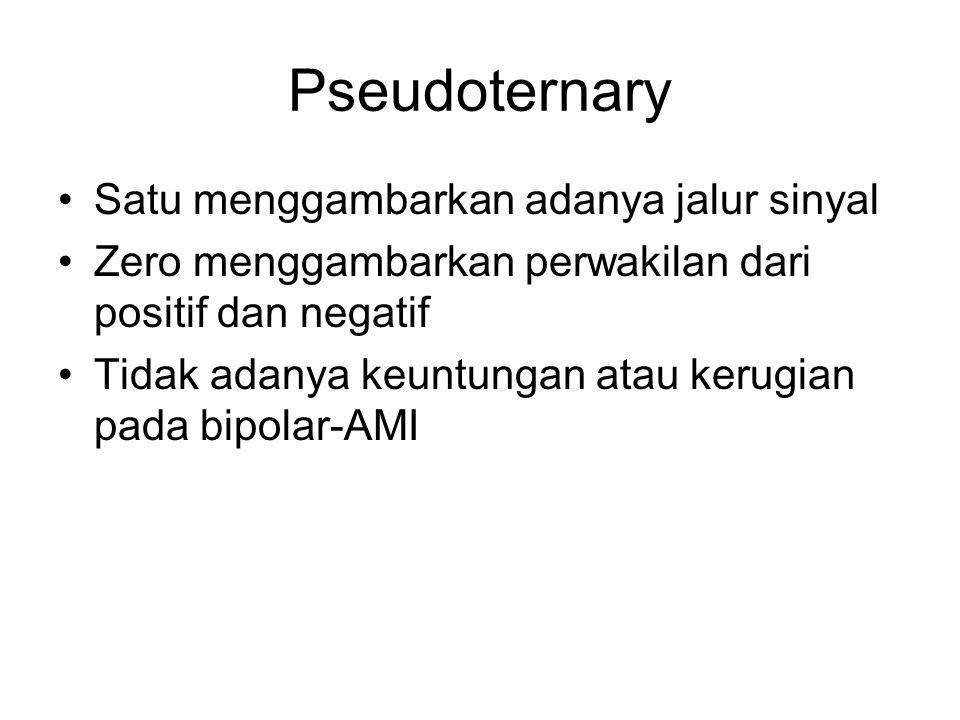 Pseudoternary Satu menggambarkan adanya jalur sinyal Zero menggambarkan perwakilan dari positif dan negatif Tidak adanya keuntungan atau kerugian pada