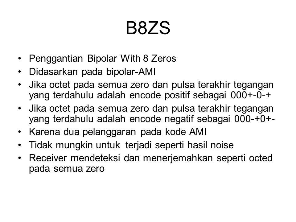 B8ZS Penggantian Bipolar With 8 Zeros Didasarkan pada bipolar-AMI Jika octet pada semua zero dan pulsa terakhir tegangan yang terdahulu adalah encode