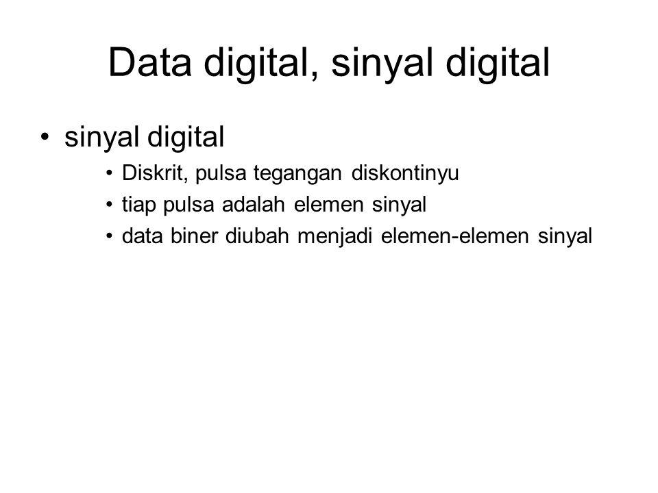 Data digital, sinyal digital sinyal digital Diskrit, pulsa tegangan diskontinyu tiap pulsa adalah elemen sinyal data biner diubah menjadi elemen-eleme
