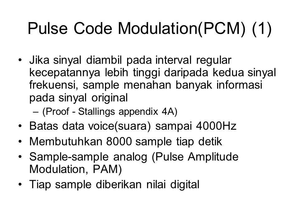 Pulse Code Modulation(PCM) (1) Jika sinyal diambil pada interval regular kecepatannya lebih tinggi daripada kedua sinyal frekuensi, sample menahan ban