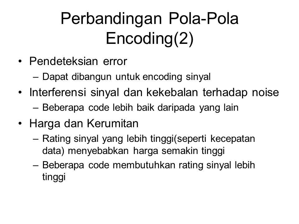 Perbandingan Pola-Pola Encoding(2) Pendeteksian error –Dapat dibangun untuk encoding sinyal Interferensi sinyal dan kekebalan terhadap noise –Beberapa