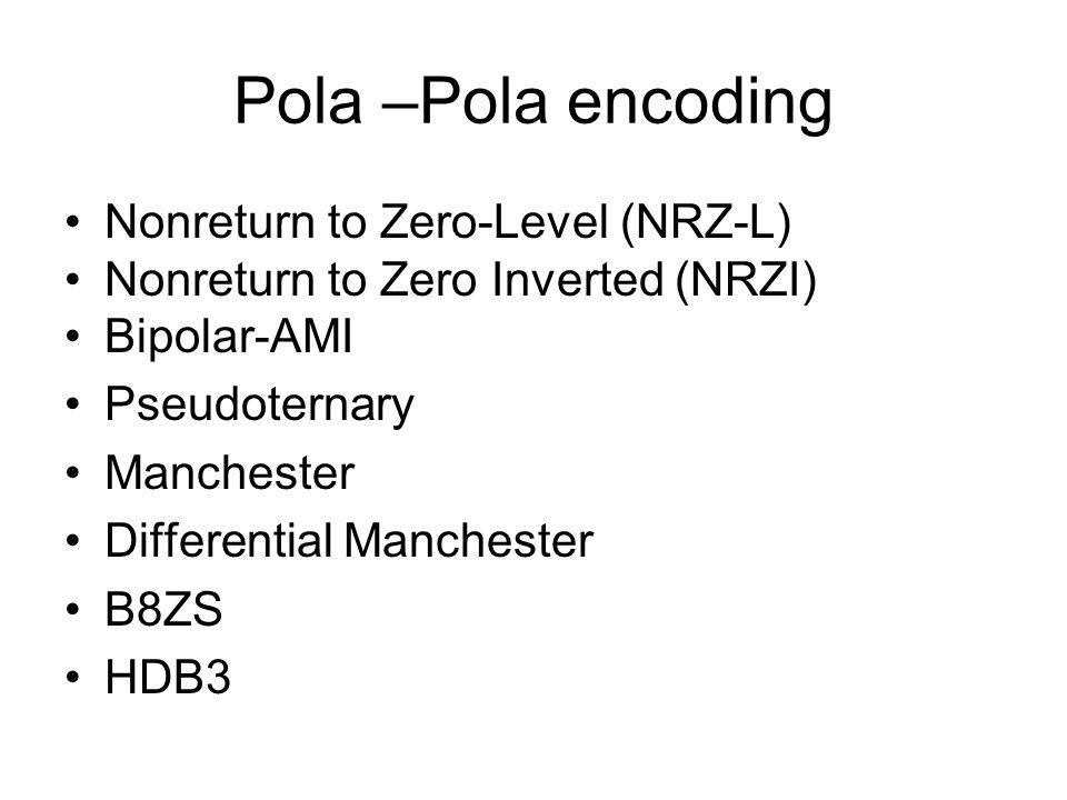 Nonreturn to Zero-Level (NRZ-L) Dua tegangan yang berbeda antara bit 0 dan bit 1 Tegangan konstan selama interval bit Tidak ada transisi yaitu tegangan no return to zero Contoh: Lebih sering, tegangan negatif untuk satu hasil dan tegangan positif untuk yang lain Ini adalah NRZ-L