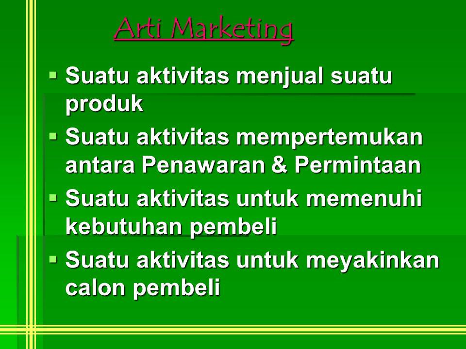 Arti Marketing  Suatu aktivitas menjual suatu produk  Suatu aktivitas mempertemukan antara Penawaran & Permintaan  Suatu aktivitas untuk memenuhi kebutuhan pembeli  Suatu aktivitas untuk meyakinkan calon pembeli