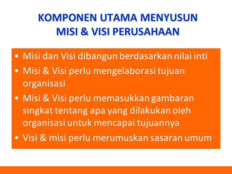 KOMPONEN UTAMA MENYUSUN MISI & VISI PERUSAHAAN Misi dan Visi dibangun berdasarkan nilai inti Misi & Visi perlu mengelaborasi tujuan organisasi Misi &
