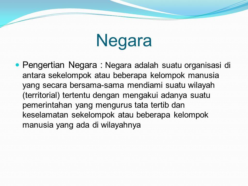 Unsur Utama Pembentuk Negara a.Rakyat b. Wilayah (teritorial) c.