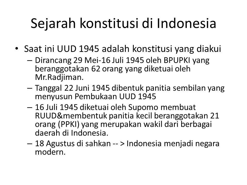 Sejarah konstitusi di Indonesia Saat ini UUD 1945 adalah konstitusi yang diakui – Dirancang 29 Mei-16 Juli 1945 oleh BPUPKI yang beranggotakan 62 oran