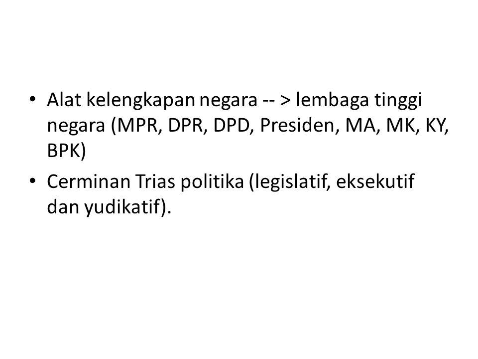 Alat kelengkapan negara -- > lembaga tinggi negara (MPR, DPR, DPD, Presiden, MA, MK, KY, BPK) Cerminan Trias politika (legislatif, eksekutif dan yudik