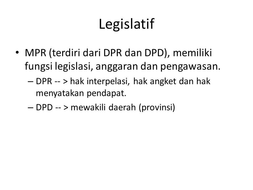 Eksekutif Penyelenggara kemauan negara dan pelaksana Undang-Undang dibidang : – Diplomatik, administrasi, militer, yudikatif (peradilan), legislatif (mengusulkan rencana produk hukum).