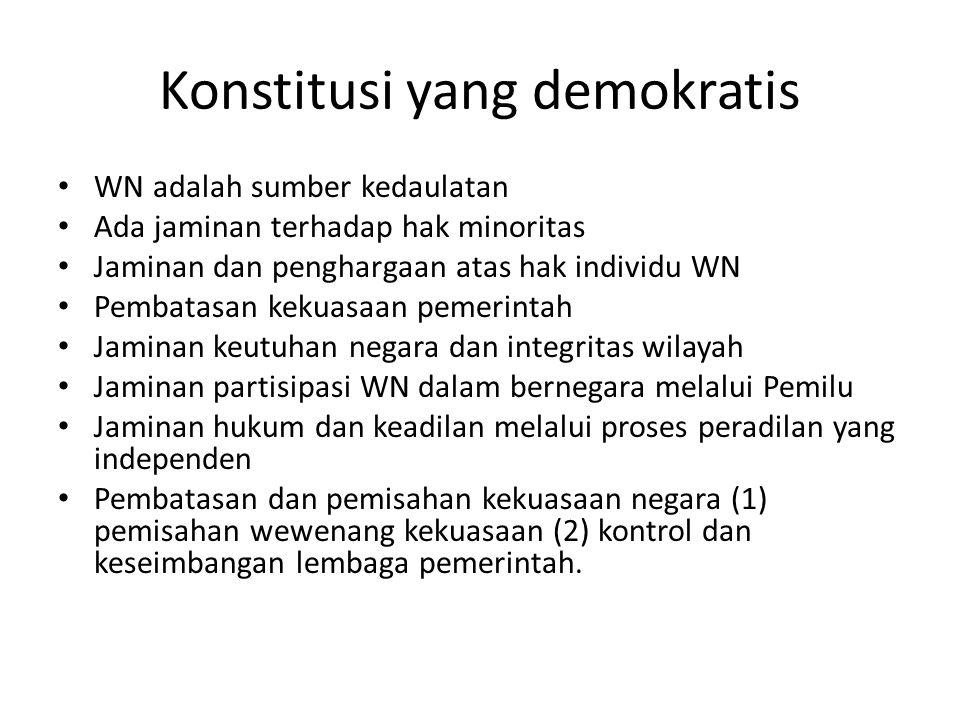 Konstitusi yang demokratis WN adalah sumber kedaulatan Ada jaminan terhadap hak minoritas Jaminan dan penghargaan atas hak individu WN Pembatasan keku