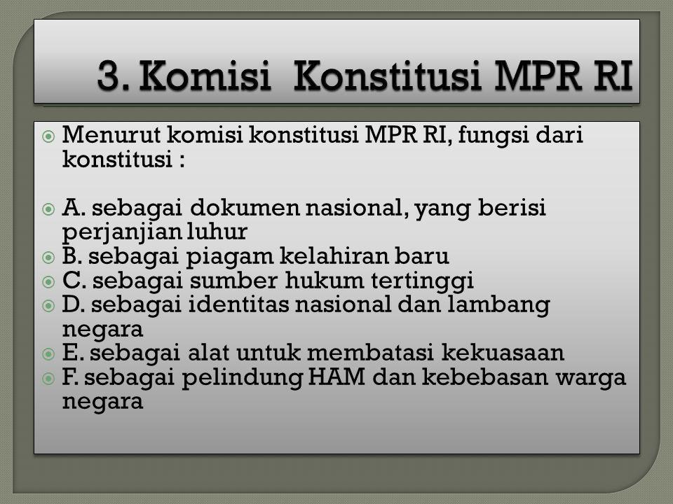  Menurut komisi konstitusi MPR RI, fungsi dari konstitusi :  A. sebagai dokumen nasional, yang berisi perjanjian luhur  B. sebagai piagam kelahiran
