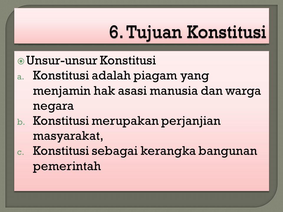  Unsur-unsur Konstitusi a. Konstitusi adalah piagam yang menjamin hak asasi manusia dan warga negara b. Konstitusi merupakan perjanjian masyarakat, c