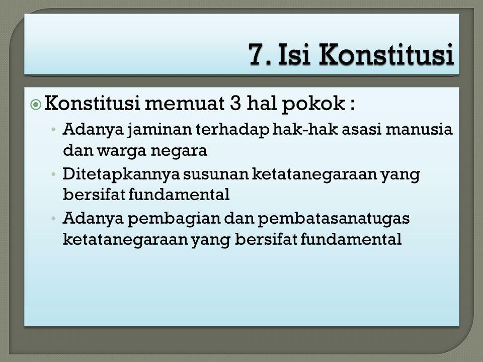  Konstitusi memuat 3 hal pokok : Adanya jaminan terhadap hak-hak asasi manusia dan warga negara Ditetapkannya susunan ketatanegaraan yang bersifat fu