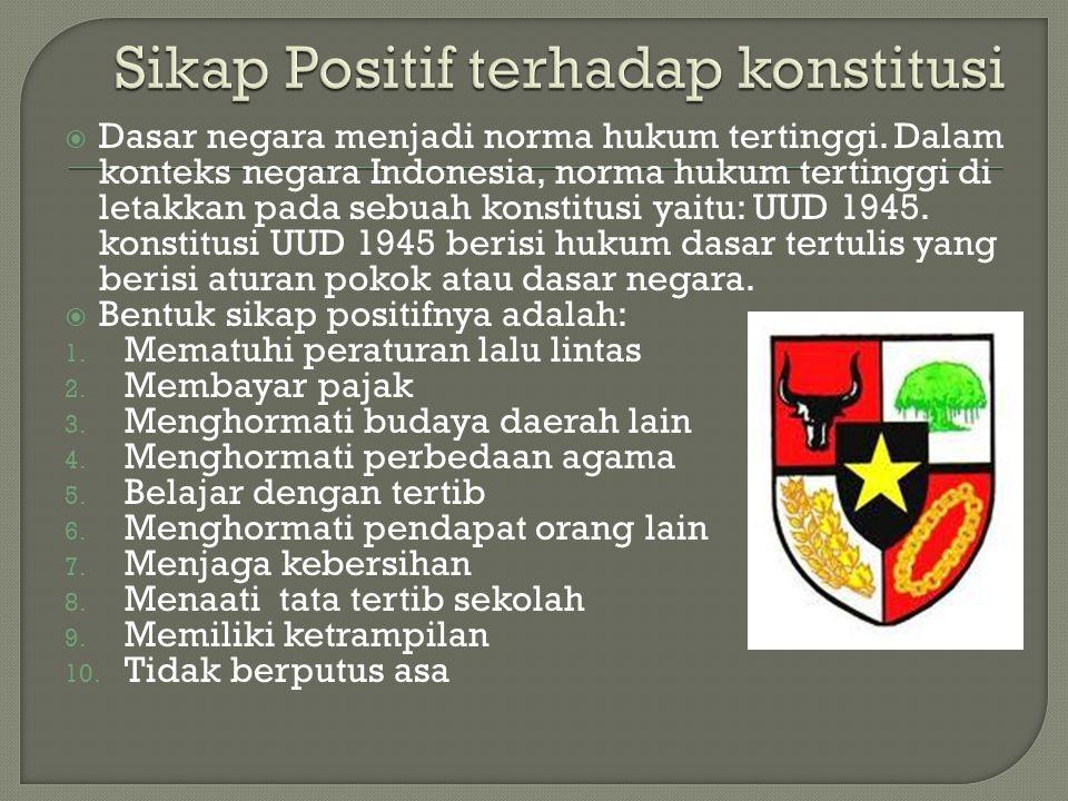  Dasar negara menjadi norma hukum tertinggi. Dalam konteks negara Indonesia, norma hukum tertinggi di letakkan pada sebuah konstitusi yaitu: UUD 1945