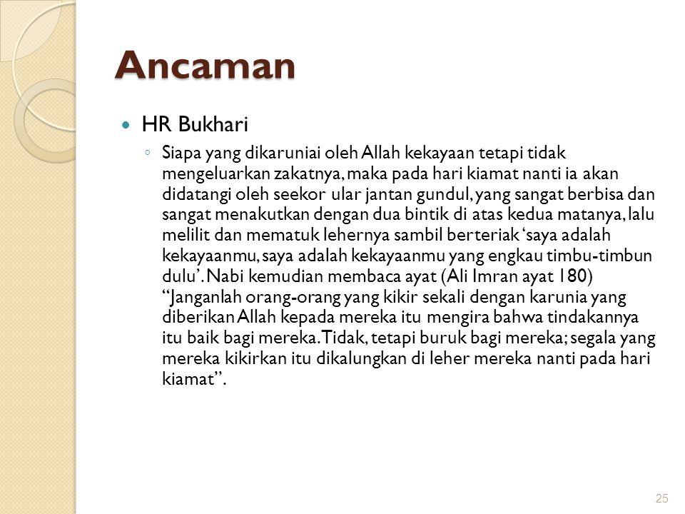 Ancaman HR Bukhari ◦ Siapa yang dikaruniai oleh Allah kekayaan tetapi tidak mengeluarkan zakatnya, maka pada hari kiamat nanti ia akan didatangi oleh