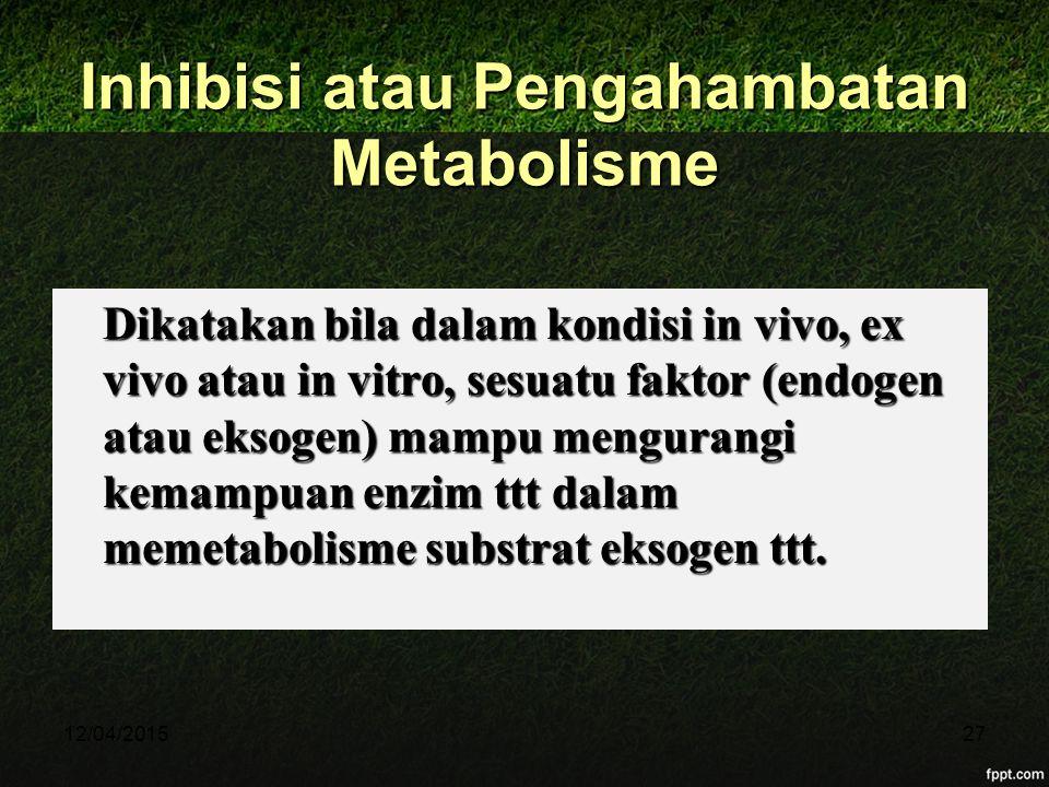 12/04/201527 Inhibisi atau Pengahambatan Metabolisme Dikatakan bila dalam kondisi in vivo, ex vivo atau in vitro, sesuatu faktor (endogen atau eksogen