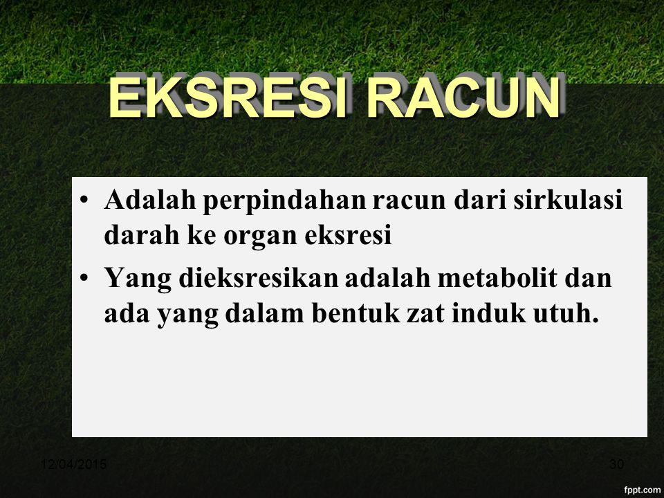 12/04/201530 EKSRESI RACUN Adalah perpindahan racun dari sirkulasi darah ke organ eksresi Yang dieksresikan adalah metabolit dan ada yang dalam bentuk