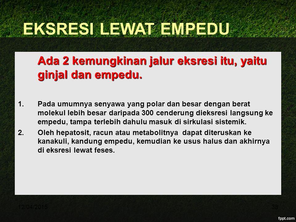 12/04/201538 EKSRESI LEWAT EMPEDU Ada 2 kemungkinan jalur eksresi itu, yaitu ginjal dan empedu. 1.Pada umumnya senyawa yang polar dan besar dengan ber