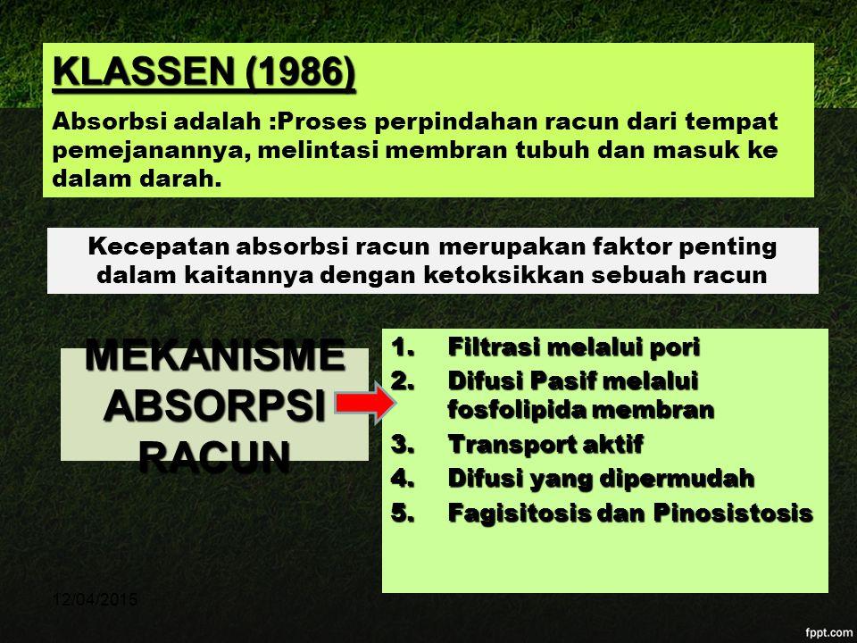 KLASSEN (1986) Absorbsi adalah :Proses perpindahan racun dari tempat pemejanannya, melintasi membran tubuh dan masuk ke dalam darah. Kecepatan absorbs