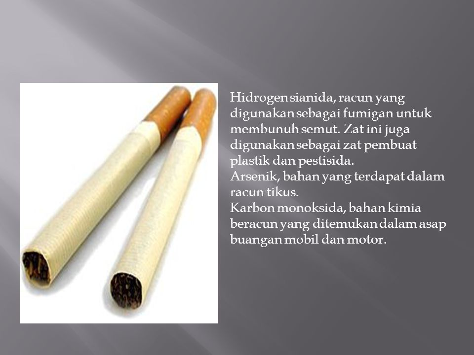 Hidrogen sianida, racun yang digunakan sebagai fumigan untuk membunuh semut.