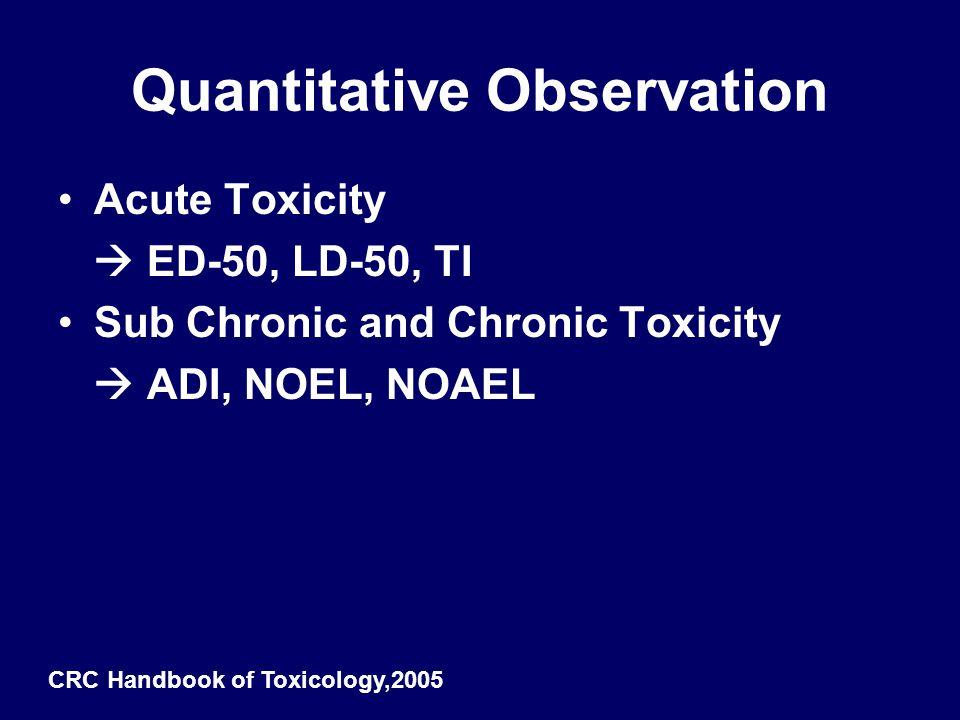 Quantitative Observation Acute Toxicity  ED-50, LD-50, TI Sub Chronic and Chronic Toxicity  ADI, NOEL, NOAEL CRC Handbook of Toxicology,2005