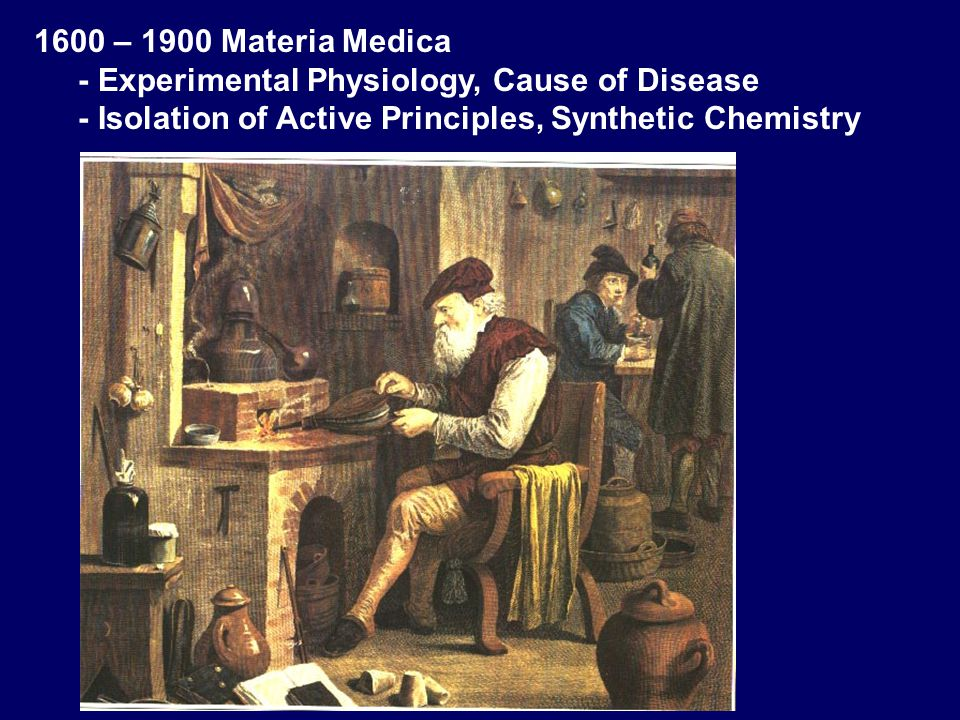 1600 – 1900 Materia Medica - Experimental Physiology, Cause of Disease - Isolation of Active Principles, Synthetic Chemistry