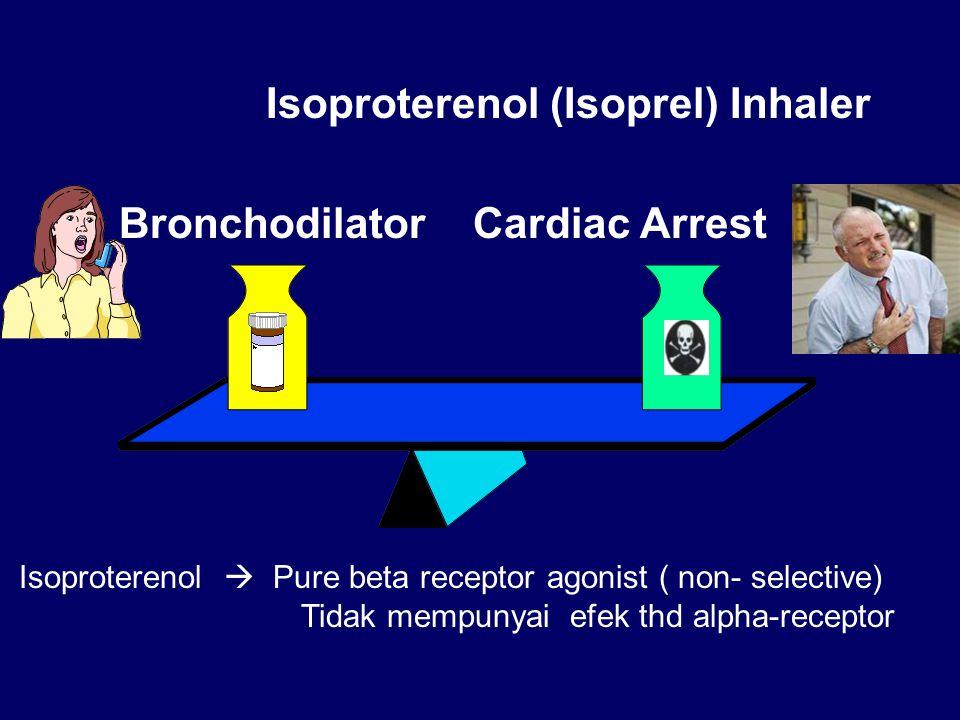 Isoproterenol (Isoprel) Inhaler BronchodilatorCardiac Arrest Isoproterenol  Pure beta receptor agonist ( non- selective) Tidak mempunyai efek thd alpha-receptor