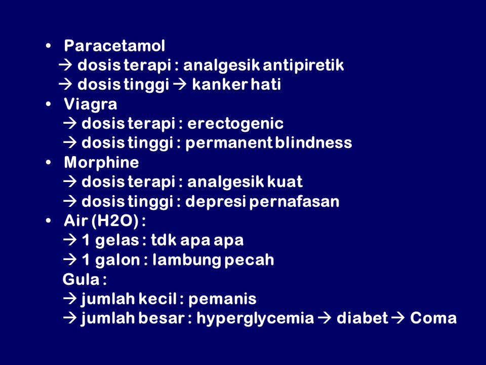 Paracetamol  dosis terapi : analgesik antipiretik  dosis tinggi  kanker hati Viagra  dosis terapi : erectogenic  dosis tinggi : permanent blindness Morphine  dosis terapi : analgesik kuat  dosis tinggi : depresi pernafasan Air (H2O) :  1 gelas : tdk apa apa  1 galon : lambung pecah Gula :  jumlah kecil : pemanis  jumlah besar : hyperglycemia  diabet  Coma