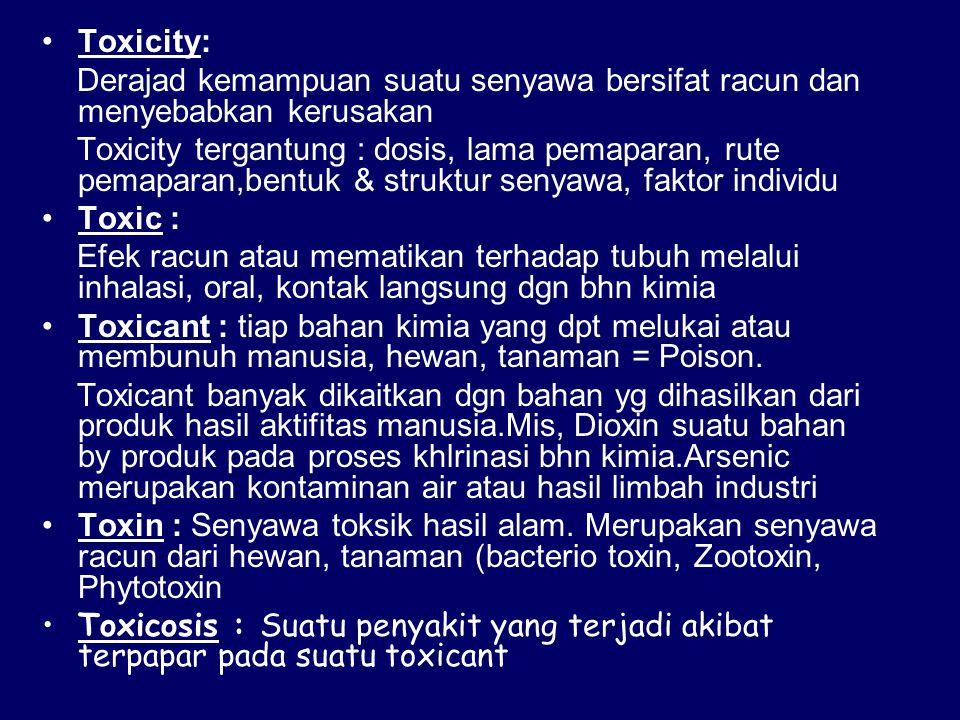 Toxicity: Derajad kemampuan suatu senyawa bersifat racun dan menyebabkan kerusakan Toxicity tergantung : dosis, lama pemaparan, rute pemaparan,bentuk