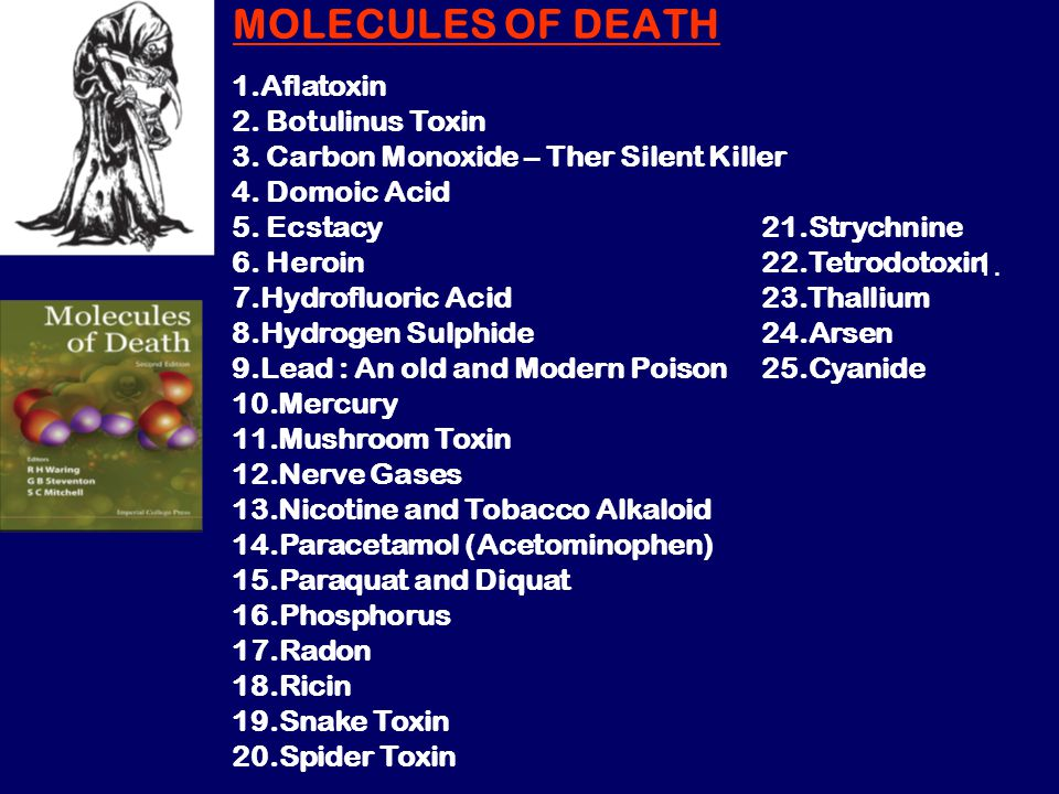 MOLECULES OF DEATH 1. 1.Aflatoxin 2. Botulinus Toxin 3. Carbon Monoxide – Ther Silent Killer 4. Domoic Acid 5. Ecstacy 6. Heroin 7.Hydrofluoric Acid 8