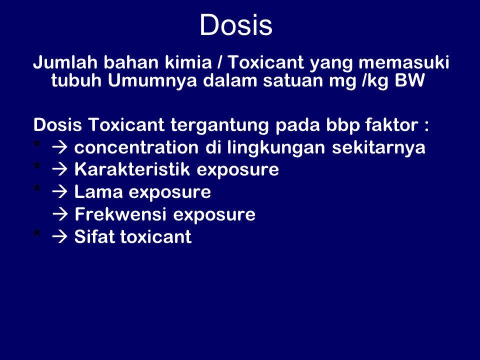 Dosis Jumlah bahan kimia / Toxicant yang memasuki tubuh Umumnya dalam satuan mg /kg BW Dosis Toxicant tergantung pada bbp faktor : *  concentration di lingkungan sekitarnya *  Karakteristik exposure *  Lama exposure  Frekwensi exposure *  Sifat toxicant