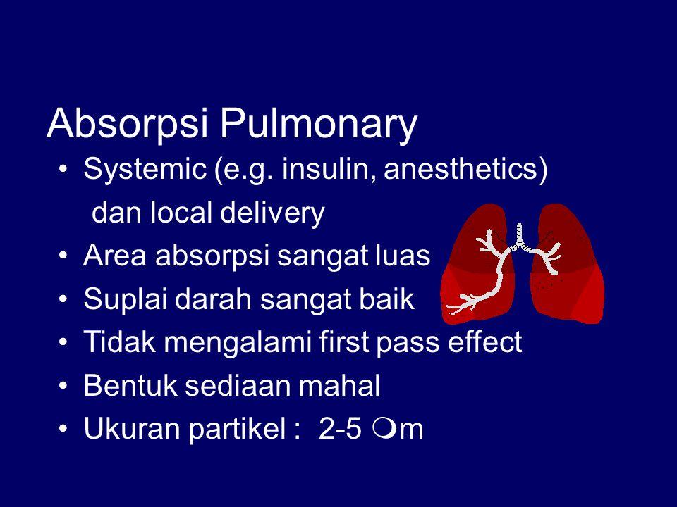 Absorpsi Pulmonary Systemic (e.g. insulin, anesthetics) dan local delivery Area absorpsi sangat luas Suplai darah sangat baik Tidak mengalami first pa