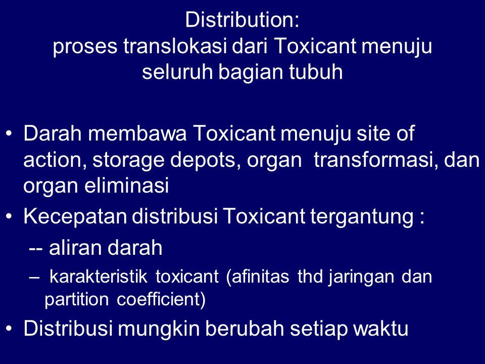 Distribution: proses translokasi dari Toxicant menuju seluruh bagian tubuh Darah membawa Toxicant menuju site of action, storage depots, organ transfo
