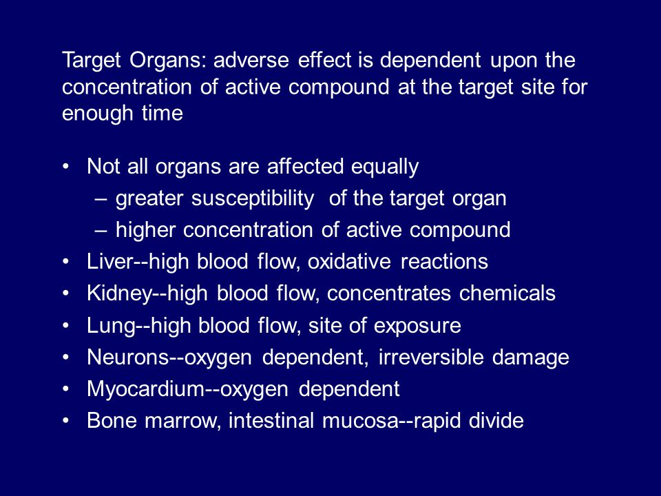 Target Organs: adverse effect is dependent upon the concentration of active compound at the target site for enough time Not all organs are affected eq