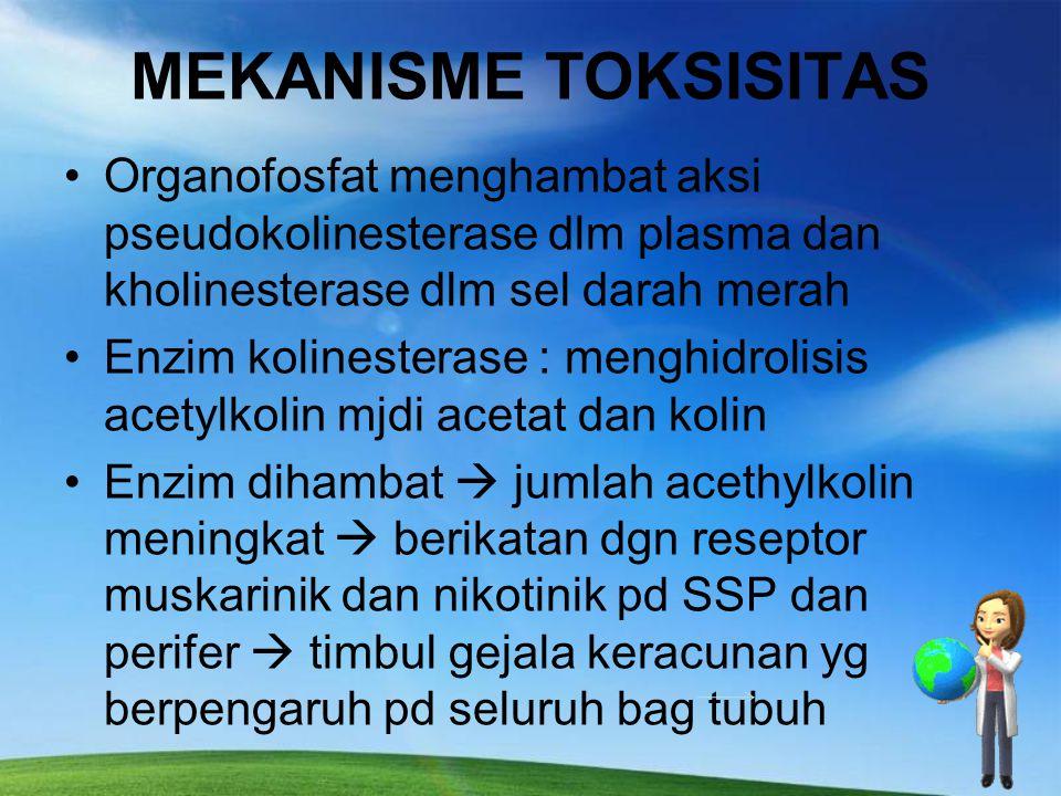 Organophosphat  Organophosphat : insektisida yg paling toksik diantara jenis pestisida lainnya dan sering menyebabkan keracunan pada orang.  Termaka