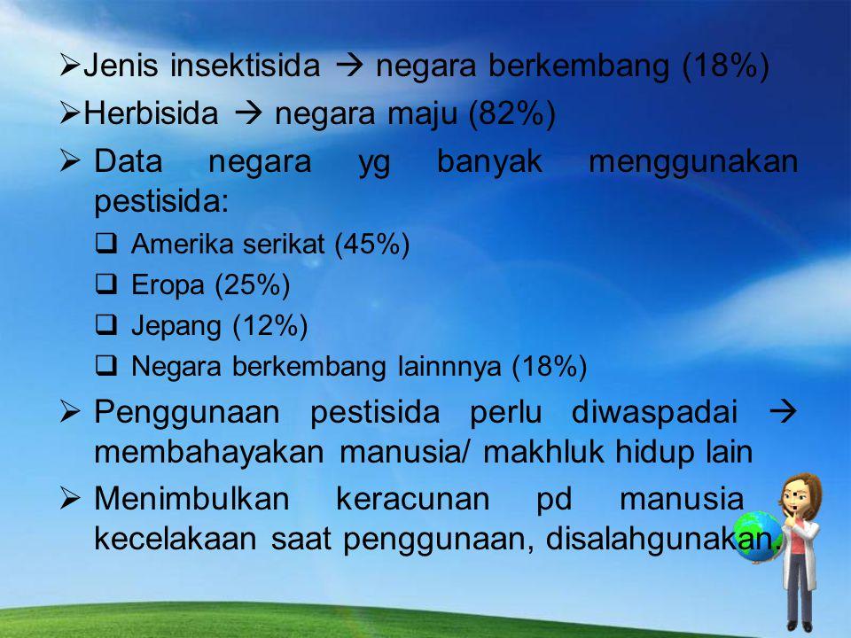  Pestisida digunakan secara luas  memberantas hama & penyakit tanaman (bidang pertanian).  Di RT : memberantas nyamuk, kepinding, kecoa, dsb.  Pes