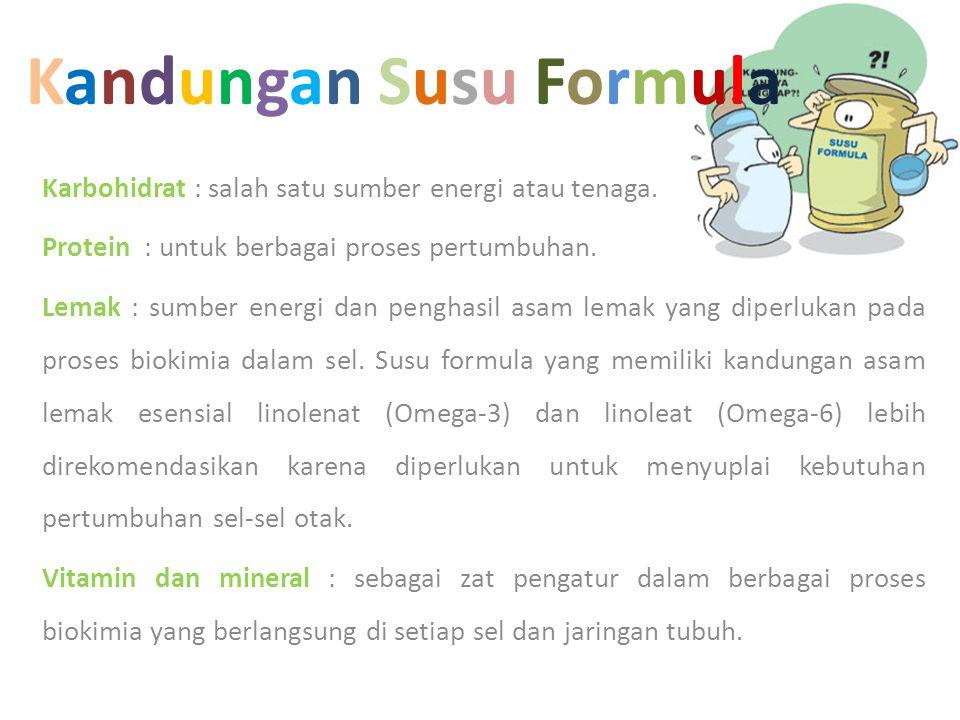 Kandungan Susu FormulaKandungan Susu Formula Karbohidrat : salah satu sumber energi atau tenaga. Protein : untuk berbagai proses pertumbuhan. Lemak :