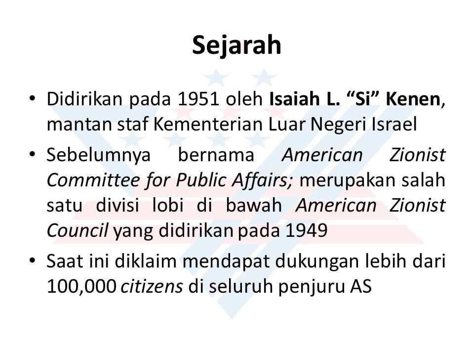"""Sejarah Didirikan pada 1951 oleh Isaiah L. """"Si"""" Kenen, mantan staf Kementerian Luar Negeri Israel Sebelumnya bernama American Zionist Committee for Pu"""